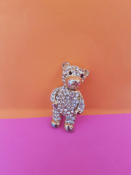 gold and diamante teddy brooch