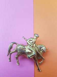 VINTAGE GOLD WARRIOR ON HORSEBACK BROOCH