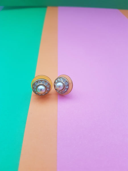 1980s ROUND PEARL AND DIAMANTES EARRINGS