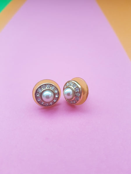 1980s earrings for pierced ears with diamantes and faux pearl