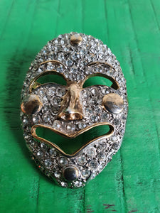 1980s VENETIAN FACE MASK DIAMANTE BROOCH