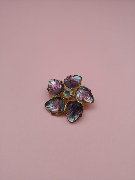 VINTAGE PURPLE FLORAL BROOCH