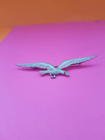 VINTAGE SILVER AND PINK BIRD BROOCH
