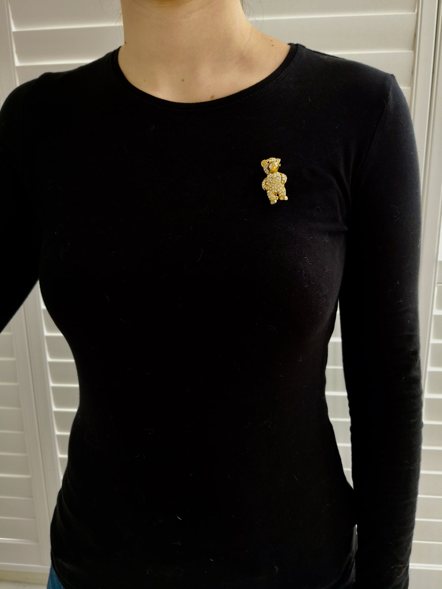 VINTAGE GOLD AND DIAMANTE TEDDY BEAR BROOCH