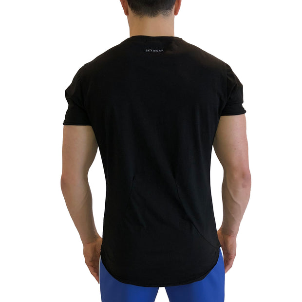 Scoop Bottom Pocket Tee - Black - Skywear