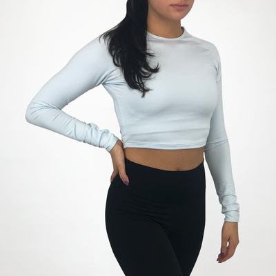 Cropped Long Sleeve - Blue Ice
