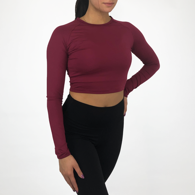 Cropped Long Sleeve - Burgundy - Skywear