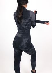 Perform Cropped Pullover - Black Tie Dye