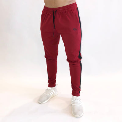 Striped Jogger - Crimson/Black