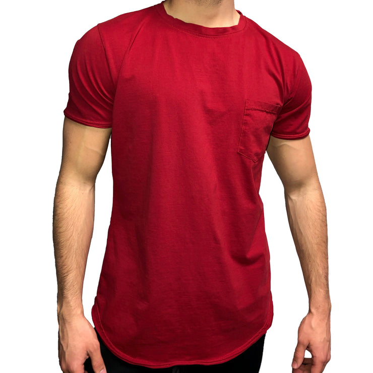 Scoop Bottom Pocket Tee - Crimson - Skywear