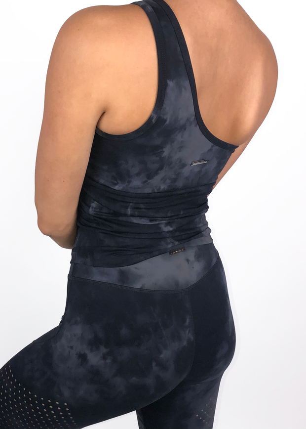 Perform One-Shoulder Tank - Black Tie Dye