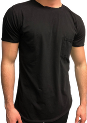 Scoop Bottom Pocket Tee - Black