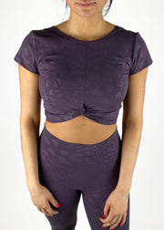 Bloom Tie-Knot Crop - Purple Leopard