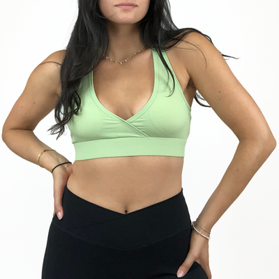 Micro-Ribbed Deep V Bra - Green Tea