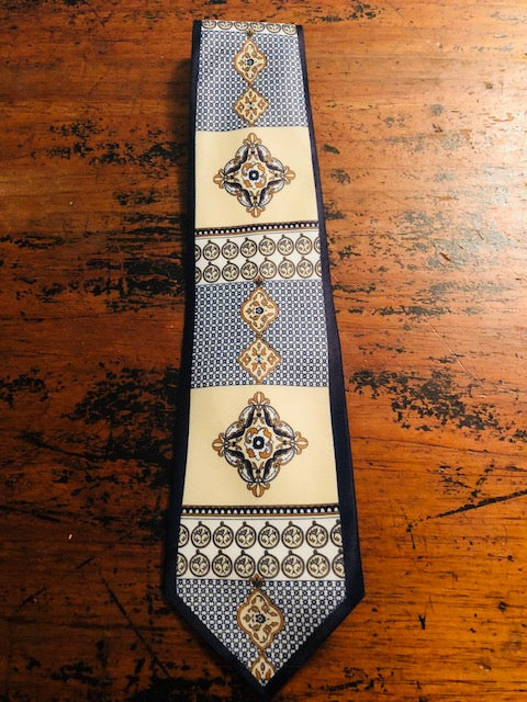 1960's Blue & Gold silk Tie