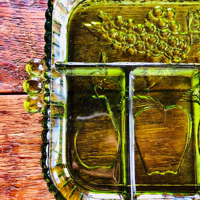 Deep Green Glass Appetizer Tray