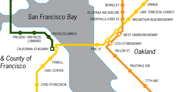 San Francisco proposed BART system map, 1956