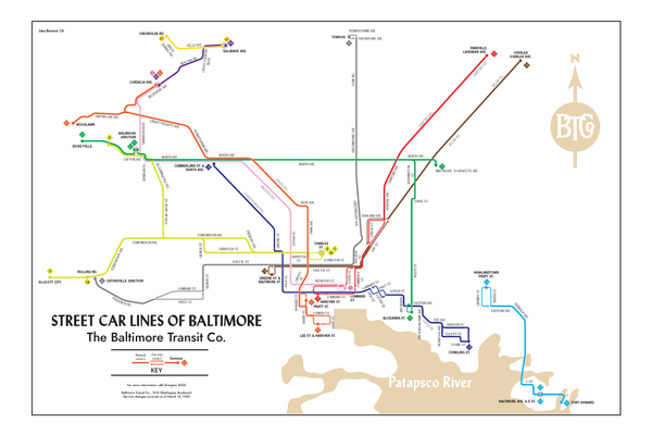 Baltimore Transit Co. streetcar system map, 1950