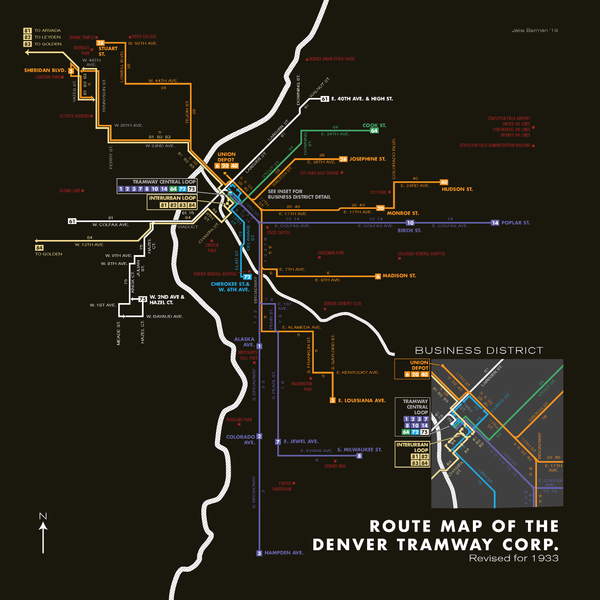 Denver Tramway Corporation system map, 1933