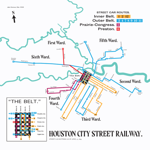 Houston City Street Railway streetcar map, 1895