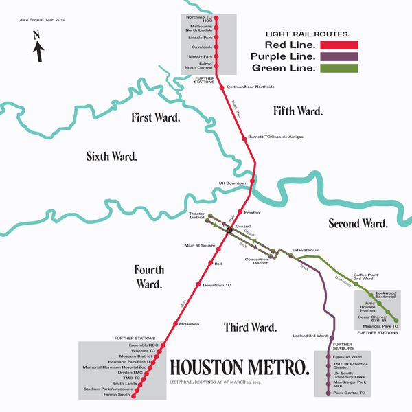 Houston METRO light rail map print, 2019
