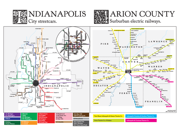 Indianapolis streetcar system and interurban light rail map, 1916