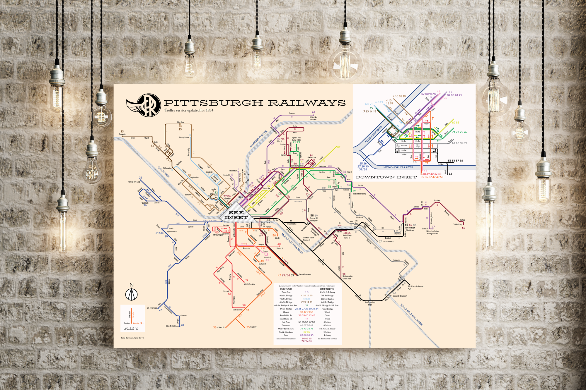 Pittsburgh streetcar system map, 1954