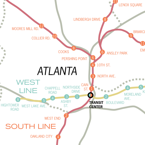 Atlanta MARTA system map, 1962 plan