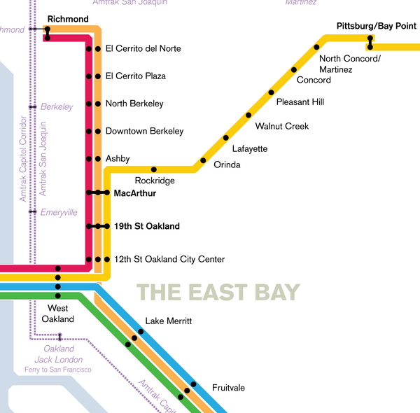 San Francisco Bay Area rail transit map print