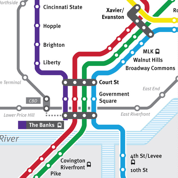 Cincinnati Metro Moves light rail proposal map, 2002