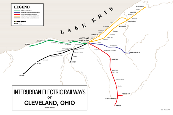 Cleveland Electric Interurban Railways map, 1898