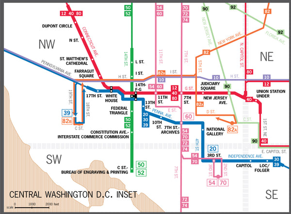 Washington, DC proposed subway system map, October 1944