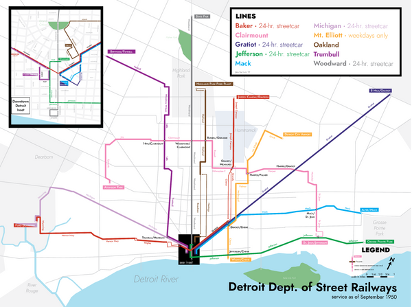 Detroit streetcar system map print, 1950