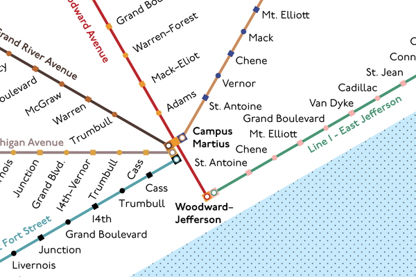 Detroit proposed monorail system map, 1958