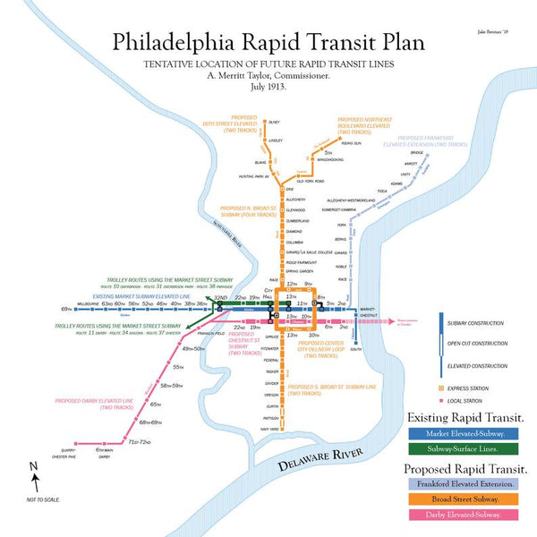 Philadelphia planned rapid transit map, 1913