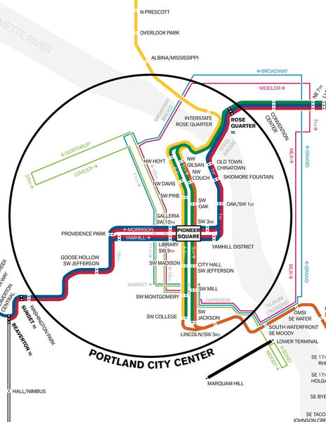 Portland MAX light rail, streetcar and aerial tram map