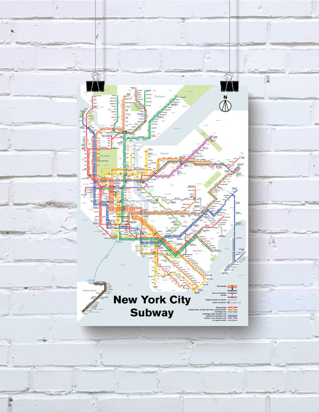New York City Subway map print