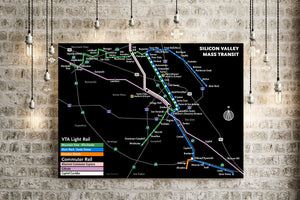 Silicon Valley freeways and transit map print