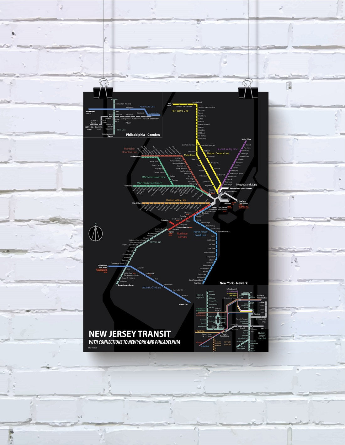 New Jersey passenger rail map print