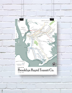 Brooklyn rapid transit map print, 1912