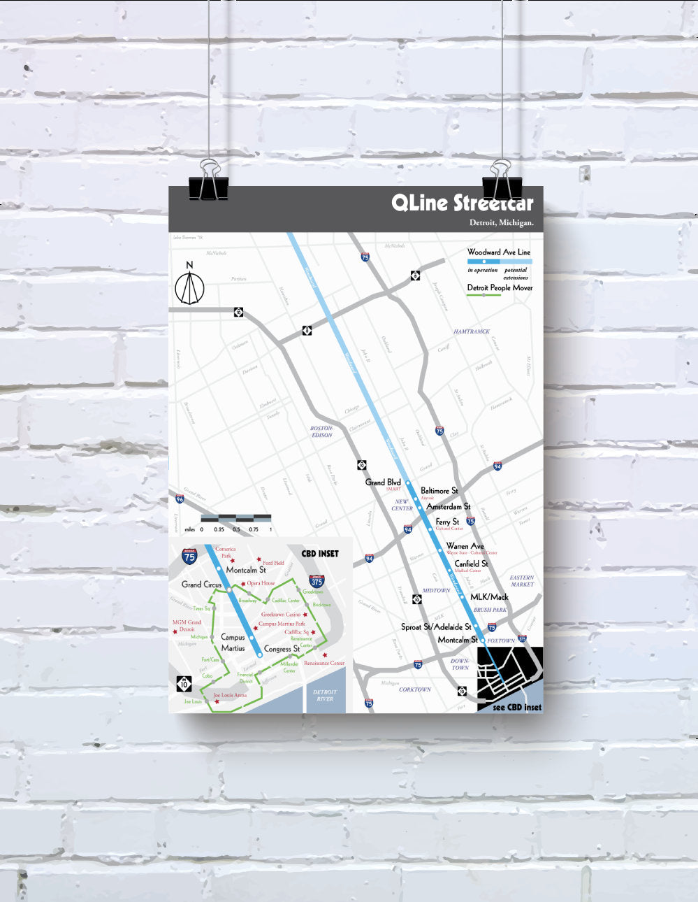 Detroit light rail map print