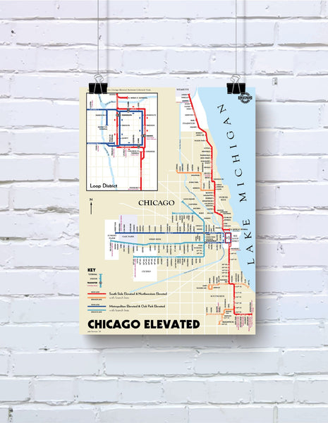 Chicago L map print, 1921