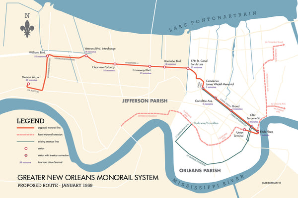 New Orleans proposed monorail system map print, 1959