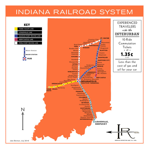 Indianapolis, Indiana light rail system map, 1936