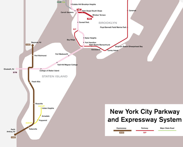 New York City parkway and expressway system map