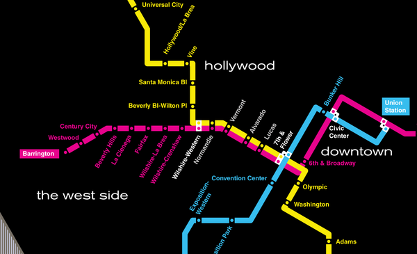 Los Angeles planned subway system map, 1968