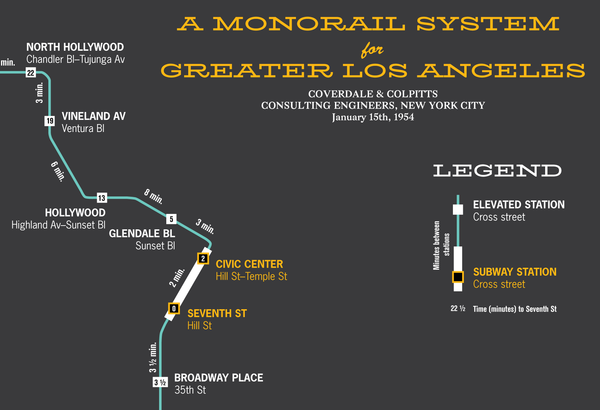 Los Angeles planned monorail map, 1954