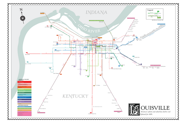 Louisville, Kentucky streetcar system and suburban electric rail, 1906