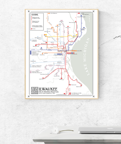 Milwaukee streetcar system map, 1904