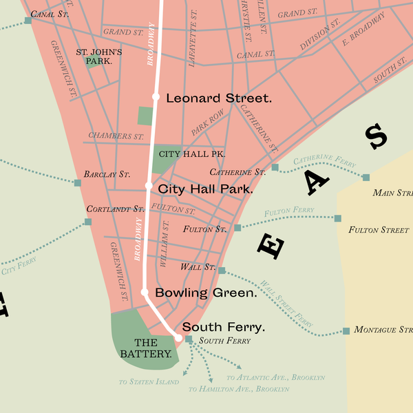 New York City Subway planned system map, 1865